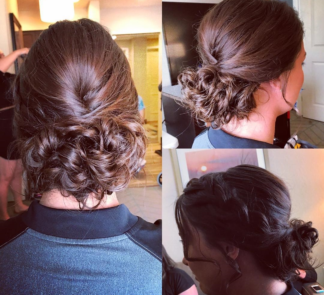 French Braids into Messy Low Bun