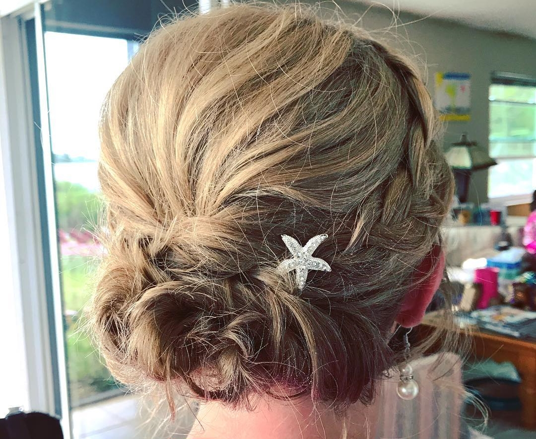 Updo for short hair bridesmaid