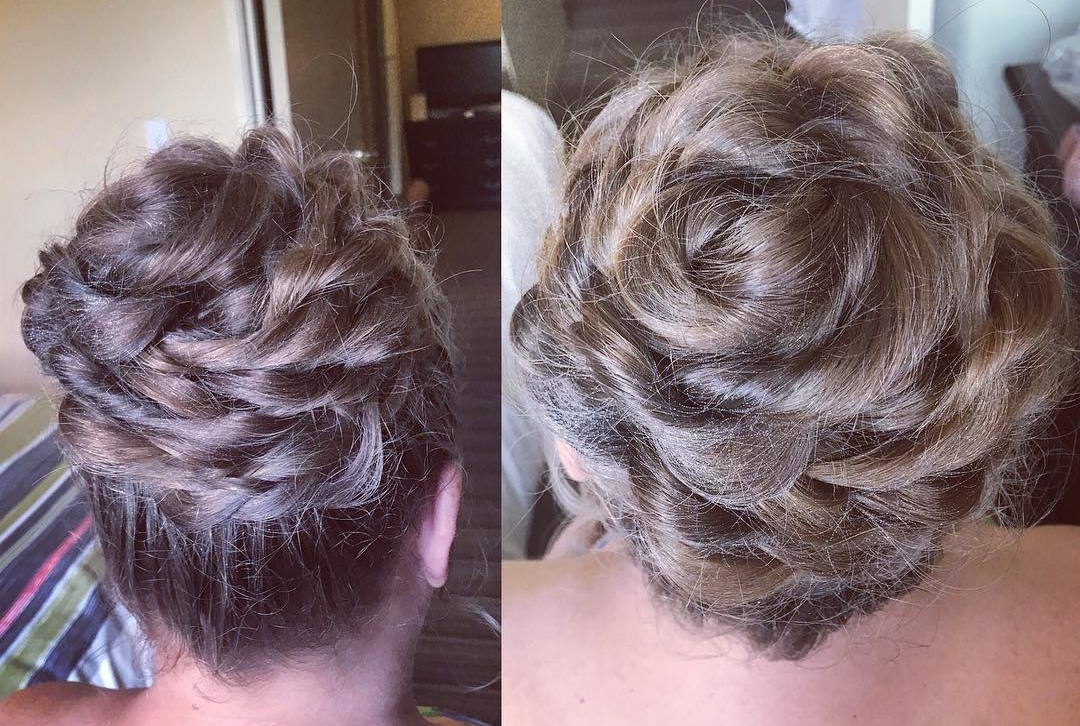 Flower high bun with French braids