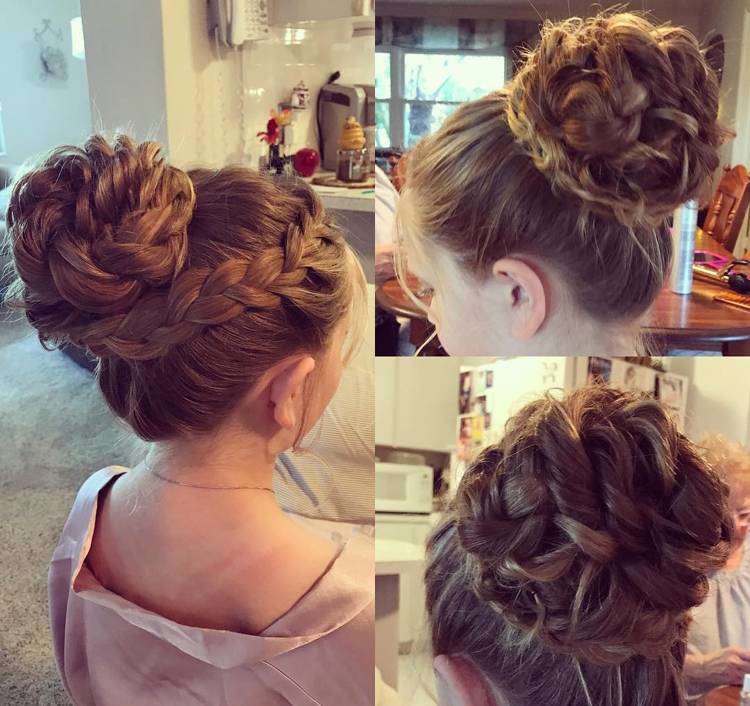 French braids messy high bun