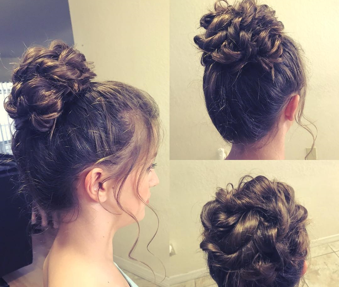 Messy high bun for junior bridesmaid