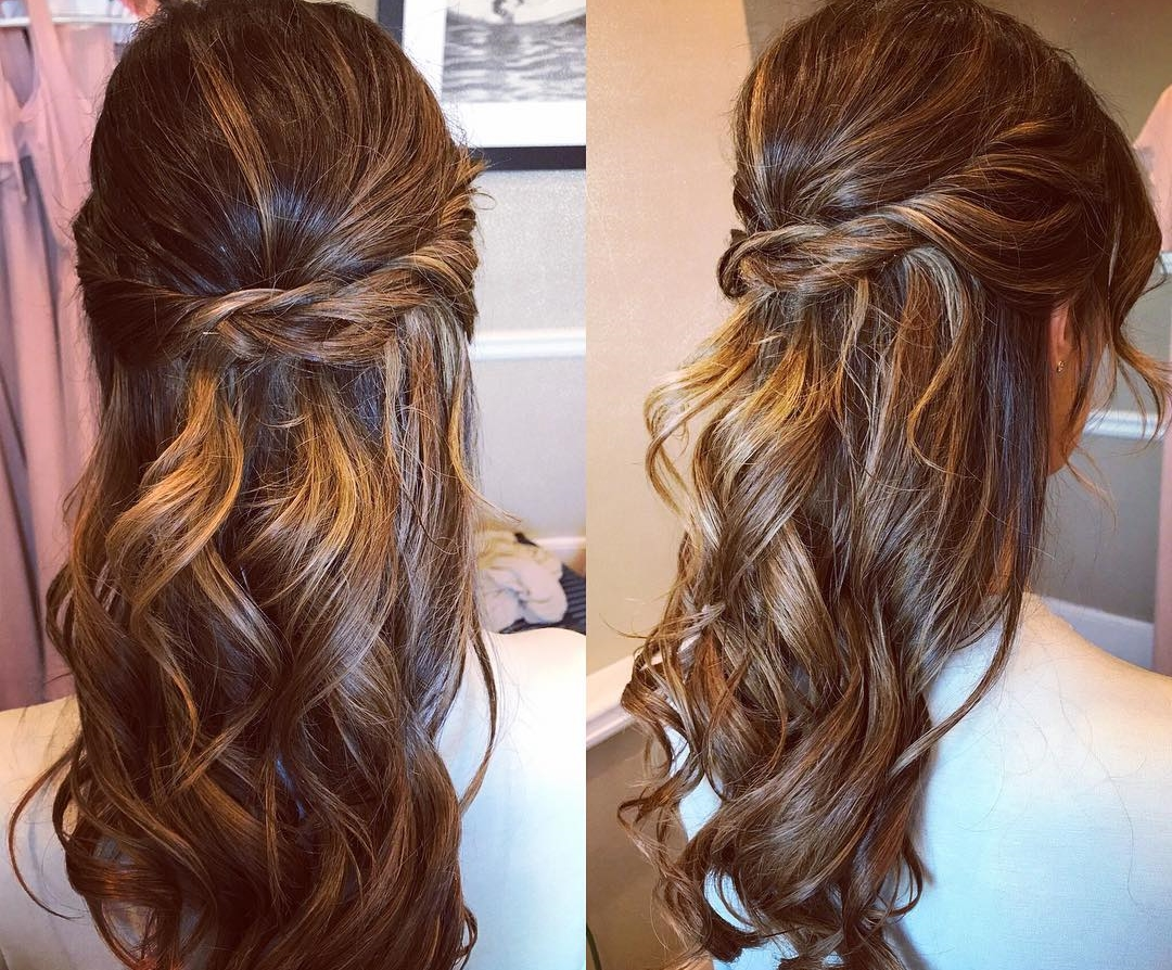 Half up half down for this bridesmaid